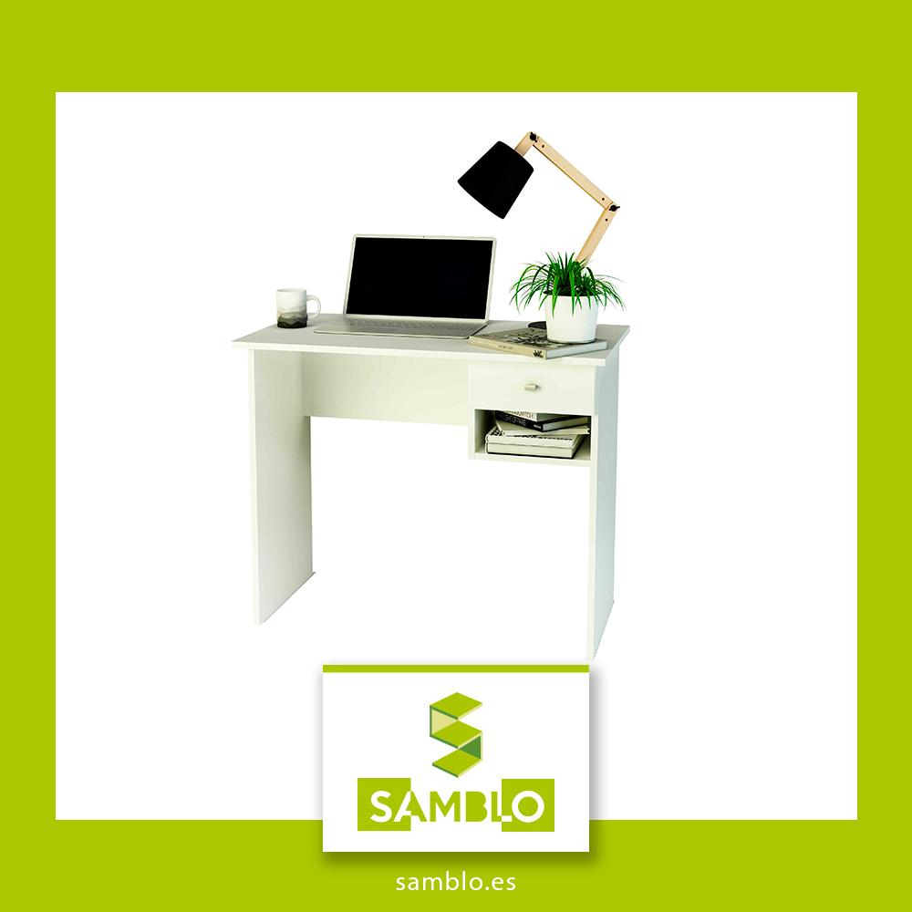 mesa blanca con cajón